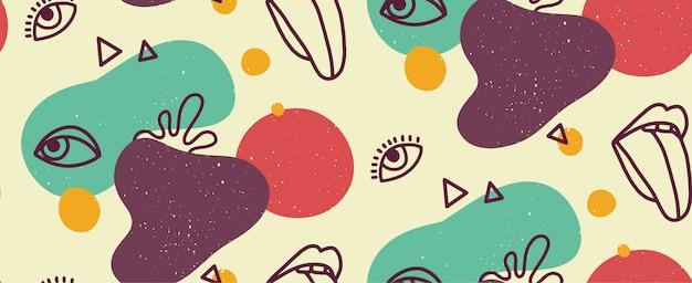 Illustration moderne dessinée à la main avec des lèvres à la mode avec la langue et les yeux, diverses formes et objets de griffonnage. abstrait modèle sans couture tendance moderne. texture répétitive pin-up rétro.