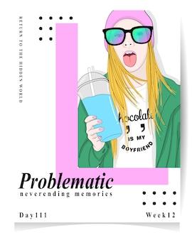 Illustration moderne de fille problématique