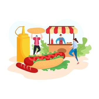 Illustration de moderne avec homme et femme achètent un hot-dog