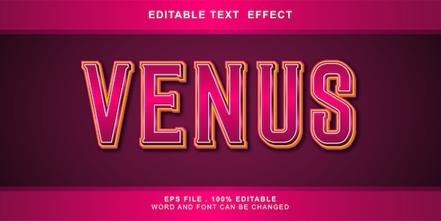 Illustration modifiable d'effet de texte vénus