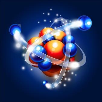 Illustration de la molécule, des atomes et des particules
