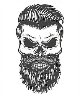 Illustration monochrome du crâne