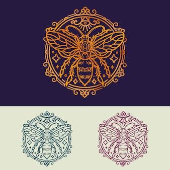 Illustration de monoline d'abeille vintage