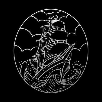 Illustration de monoline de bateau à voile