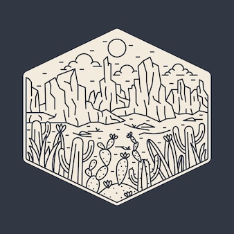 Illustration de monoline camping nature aventure