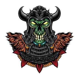 Illustration de monstre crâne viking couleur