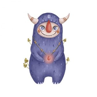 Illustration d'un monstre de forêt magique de dessin animé mignon. monstre fantastique violet avec des cornes sur fond blanc