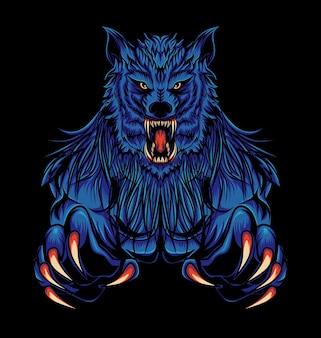 Illustration de monstre de loup bleu