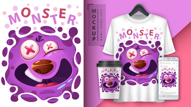 Illustration de monstre mignon et merchandising