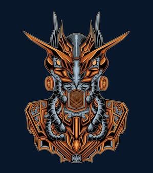 Illustration de monstre de robot mécanique à cornes