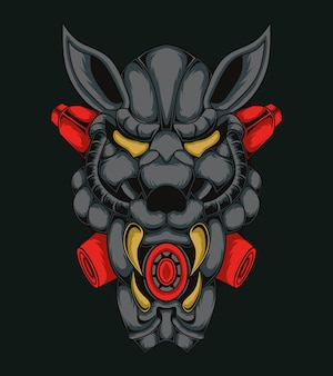 Illustration de monstre tête de tigre robotique
