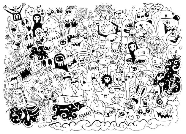 Illustration de monstres et sympathique alien mignon