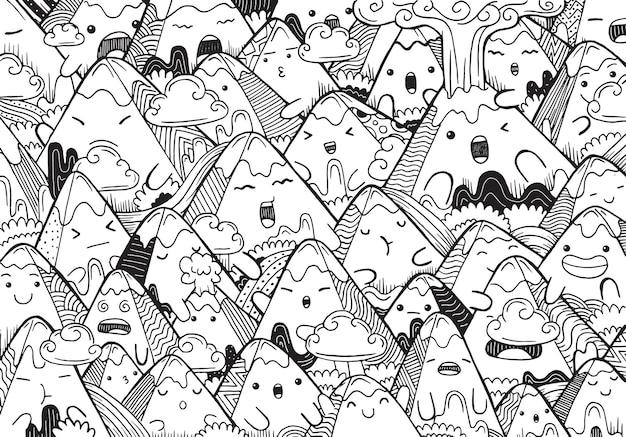 Illustration de la montagne de doodle en style cartoon