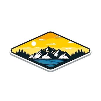 Illustration de la montagne de paysage de paysage pour la conception d'insignes ou de t-shirts en plein air