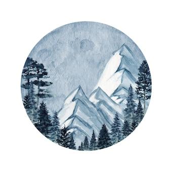 Illustration des montagnes de la forêt sauvage d'hiver