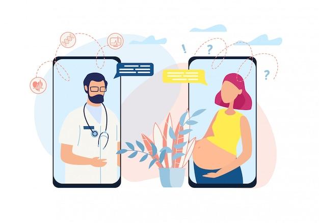 Illustration montre dialogue doctor, cliente enceinte.