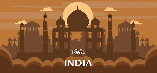Illustration de monuments célèbres de voyage en inde