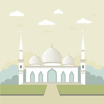 Illustration d'une mosquée au design plat