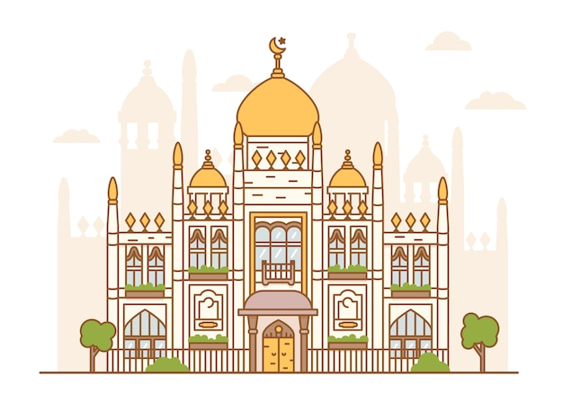 Illustration de la mosquée du sultan de singapour. architecture arabe, édifice religieux. dômes, minaret, tours, croissant avec une étoile. foi islamique.