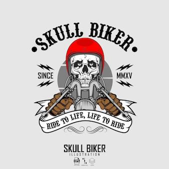 Illustration de motard crâne format prêt eps 10