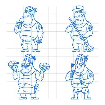 Illustration, motard homme doodle concept set 1, format eps 10