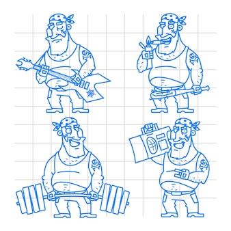 Illustration, motard homme doodle concept set 2, format eps 10