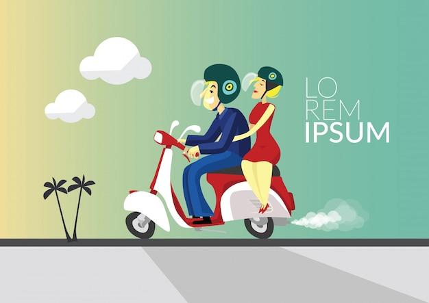 Illustration de motard et petite amie avec scooter rétro