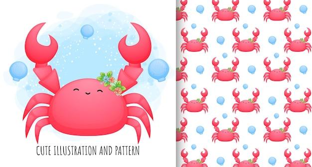 Illustration et motif de crabe mignon
