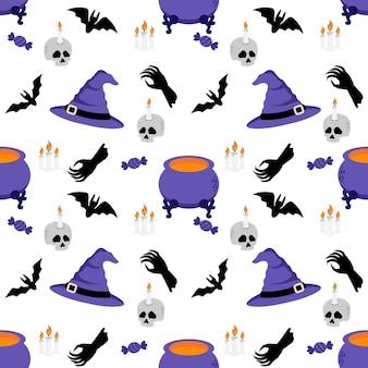 Illustration de motif sans couture doodle halloween lapin bunny cartoon