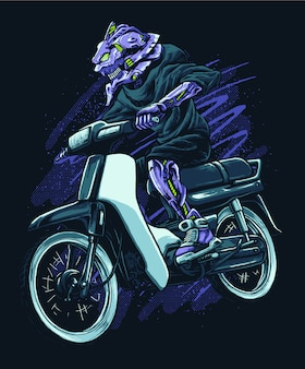 Illustration de moto équitation robot