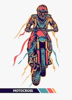 Illustration de motocross d'oeuvre colorée