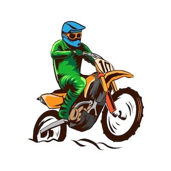 Illustration de motocross vecteur isolé