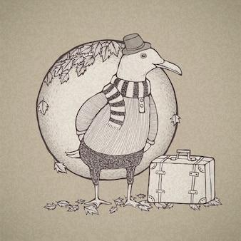 Illustration de la mouette de voyage de style rétro dessiné à la main