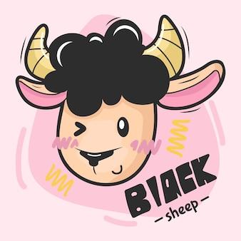 Illustration mouton noir personnage dessiné à la main