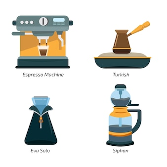 Illustration des moyens de préparation du café