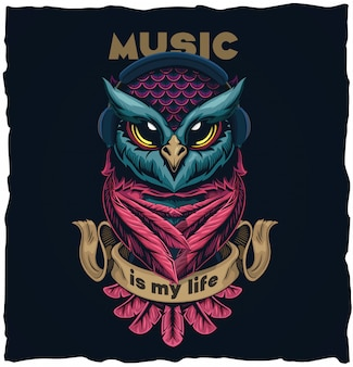 Illustration musicale design chouette tshirt