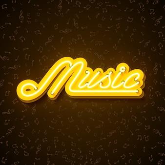 Illustration musicale avec enseigne au néon