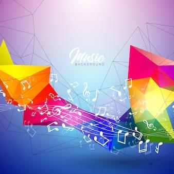 Illustration musicale avec des notes qui tombent et des couleurs abstraites sur fond bleu