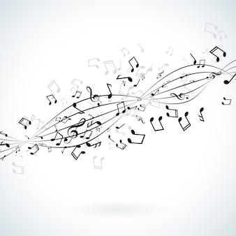 Illustration musicale avec des notes qui tombent sur fond blanc.