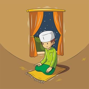 Illustration d'un musulman priant