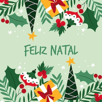 Illustration natale de feliz plat