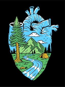 Illustration de la nature dans mon coeur