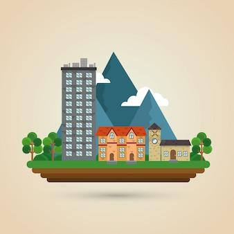 Illustration de la nature de la ville, du bâtiment et de l'immobilier