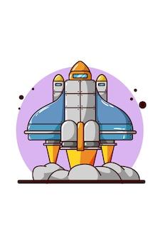 Illustration de la navette spatiale dessin à la main