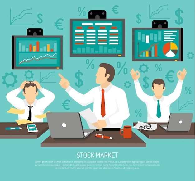 Illustration de négociant en bourse