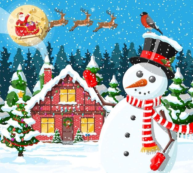 Illustration de neige couverte de maison de banlieue