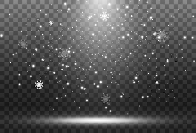 Illustration de neige volante sur fond transparent phénomène naturel de neige ou de blizzard.