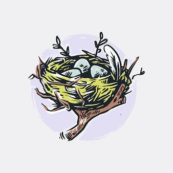Illustration de nid d'oiseau