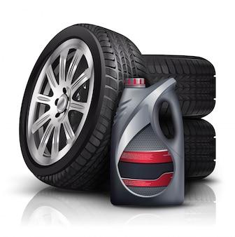 Illustration des niveaux de voiture avec une bouteille en plastique d'huile de voiture. isolé sur blanc