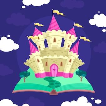 Illustration nocturne du château de conte de fées